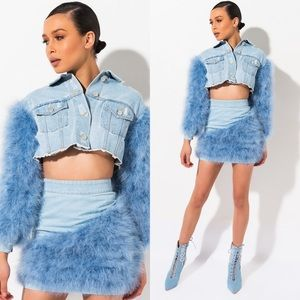 NEW AZALEA WANG ANGEL BABY OSTRICH FEATHER OUTFIT